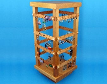 Earring Holder, Cherry, Jewelry Organizer, 4 Sided Spinning Store Jewelry Display with Revolving Base. Holds 160 pairs. Jewelry Holder