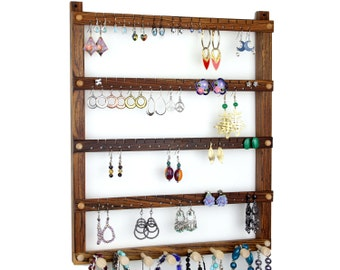 Jewelry Organizer, Jewelry Holder, Hanging, Wood, Bocote, Necklace Storage. 72 pairs, 8 pegs. Wall Mount Earring Storage