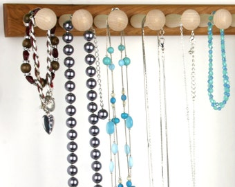 "Large Necklace Rack- Jewelry Holder Bar, Wall Mount, Wood, Cherry.  20"", 14 Long Shaker Pegs. Necklace Bar, Bracelet Holder"