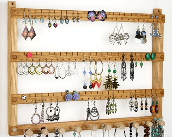 Oak Wall Mount Wooden Jewelry Display, Earring Holder, Wide, Necklace Holder. Holds 72 pairs, 10 pegs. Jewelry Holder - Earrings Holder