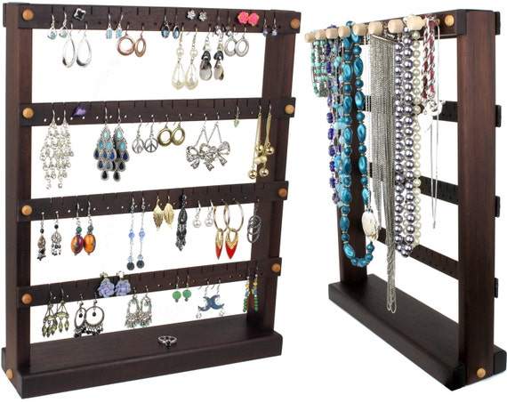 Jewelry Organizer - Earring Holder Stand, Peruvian Walnut, Dark Brown, Wood, Necklace Organizer. Holds 72 pairs, 8 pegs. Jewelry Display