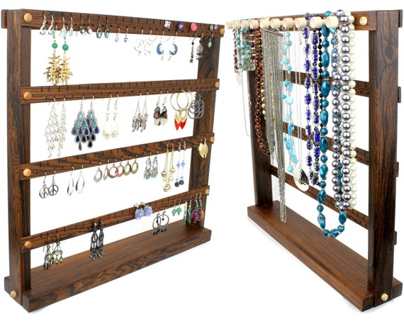 Jewelry Organizer - Jewelry Stand, Bocote, Wood, Zebra Stripe. Holds up to 96 pairs, 10 pegs. Earring Holder - Earring Display