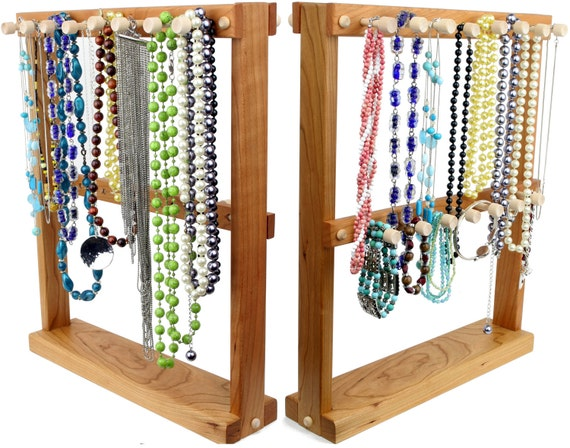 Jewelry Holder, Necklace Holder Rack, Double Sided, Bracelet Holder Stand, Wood, Cherry.  23 pegs, offset. Jewelry Organizer - Holder