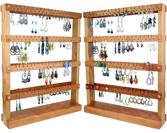 Jewelry Organizer Stand, Jewelry Stand, Cherry, Wood, Double-Sided. Holds up to 144 pairs. Jewelry Display - Earring Organizer