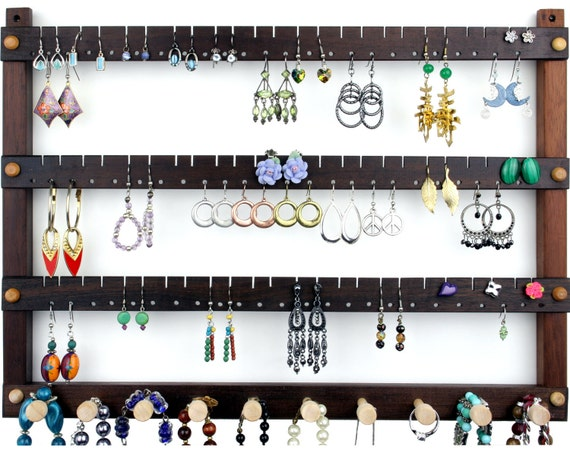 Jewelry Holder - Earring Holder, Hanging, Peruvian Walnut, Wood. Holds 72 pairs plus 10 peg Necklace Holder.  Wall Mounted Jewelry Organizer