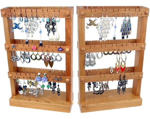 Cherry Wooden Jewelry Organizer Jewelry Display Stand