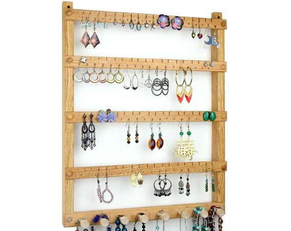Oak Wood Wall Mount Earring Holder with Necklace, Bracelet Jewelry Organizer. Holds up to 72 pairs plus 8 jewelry pegs. Jewelry Holder