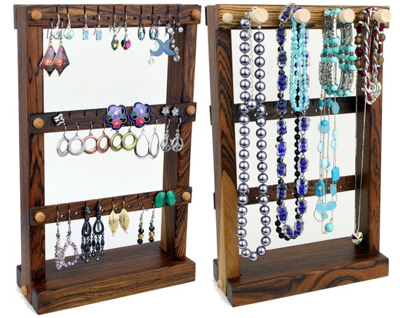 Earring Holder Stand, Jewelry Holder, Wood, Bocote, Necklace Holder. Holds up to 30 pairs, 4 pegs. Jewelry Organizer - Jewelry Storage
