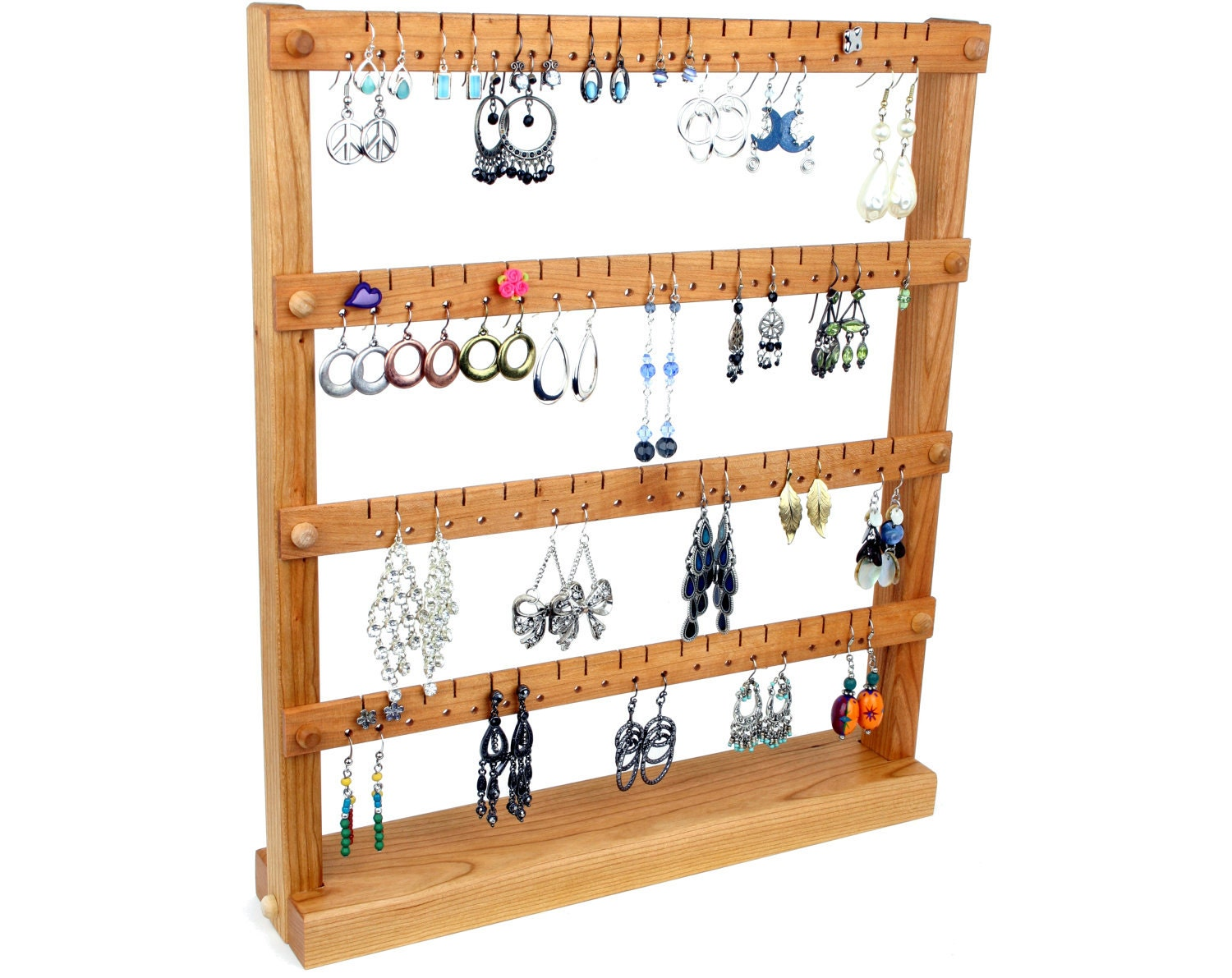 cherry jewelry organizer stand jewelry holder wooden holds. Black Bedroom Furniture Sets. Home Design Ideas
