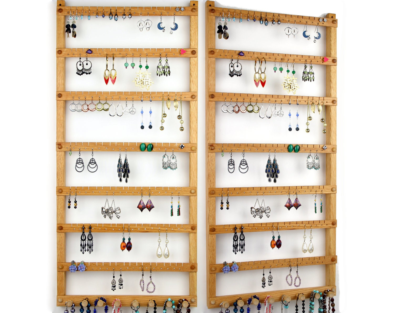 126 pair hanging earring holder jewelry organizer oak