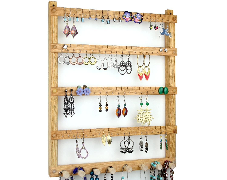 Oak Wood Wall Mount Earring Holder With By Tomsearringholders