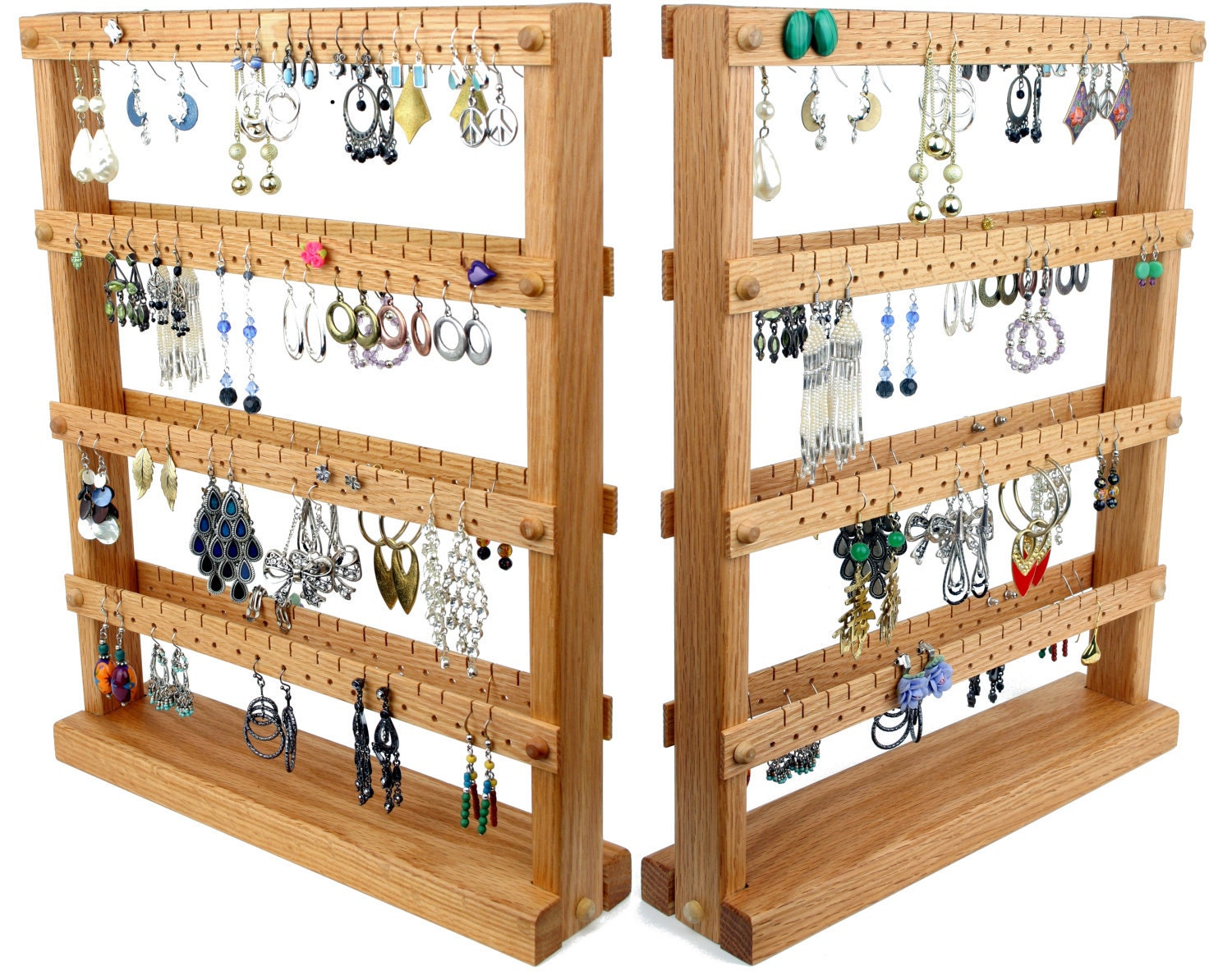earring holder stand jewelry stand oak wood double sided. Black Bedroom Furniture Sets. Home Design Ideas