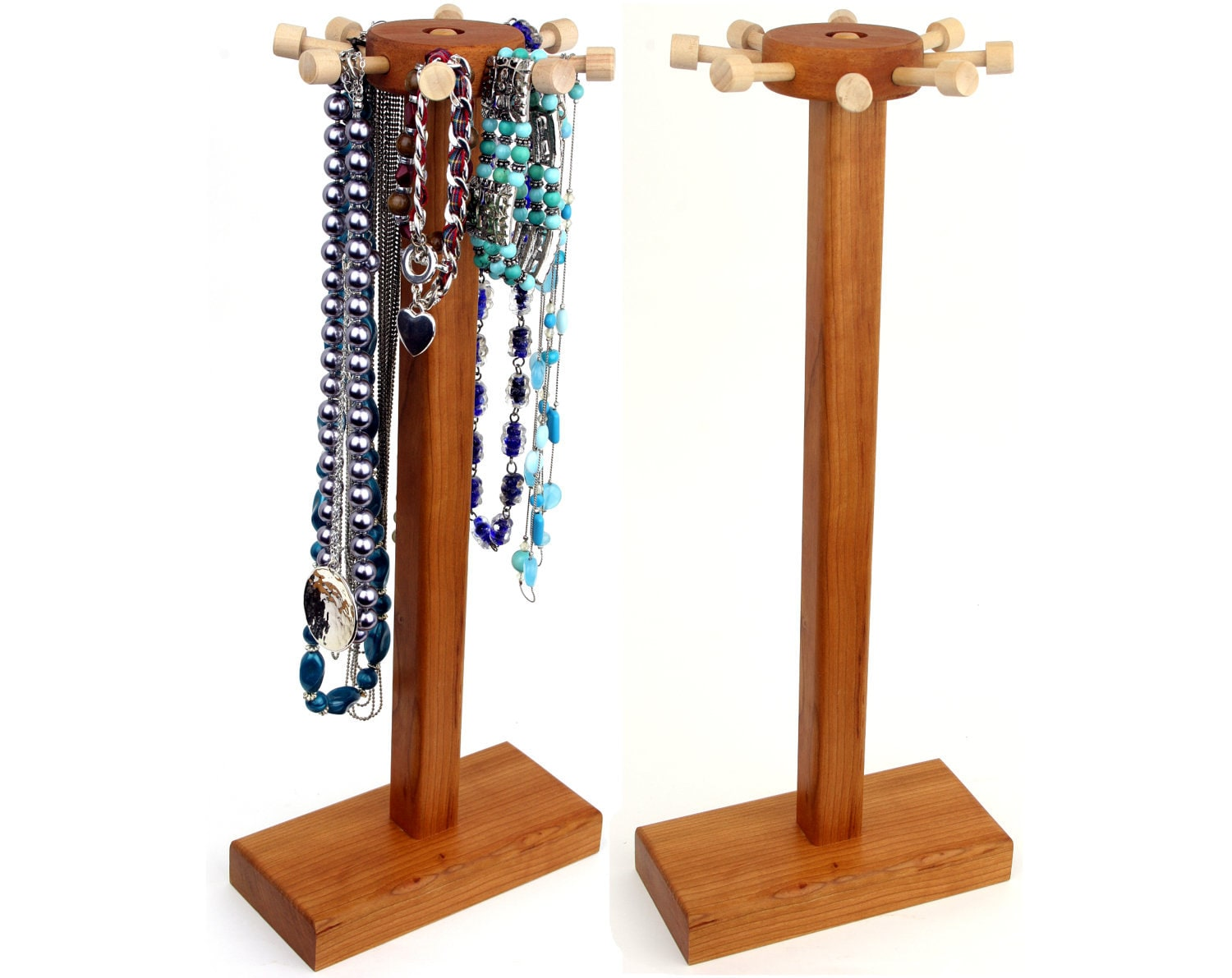 necklace holder stand jewelry display cherry spinning. Black Bedroom Furniture Sets. Home Design Ideas