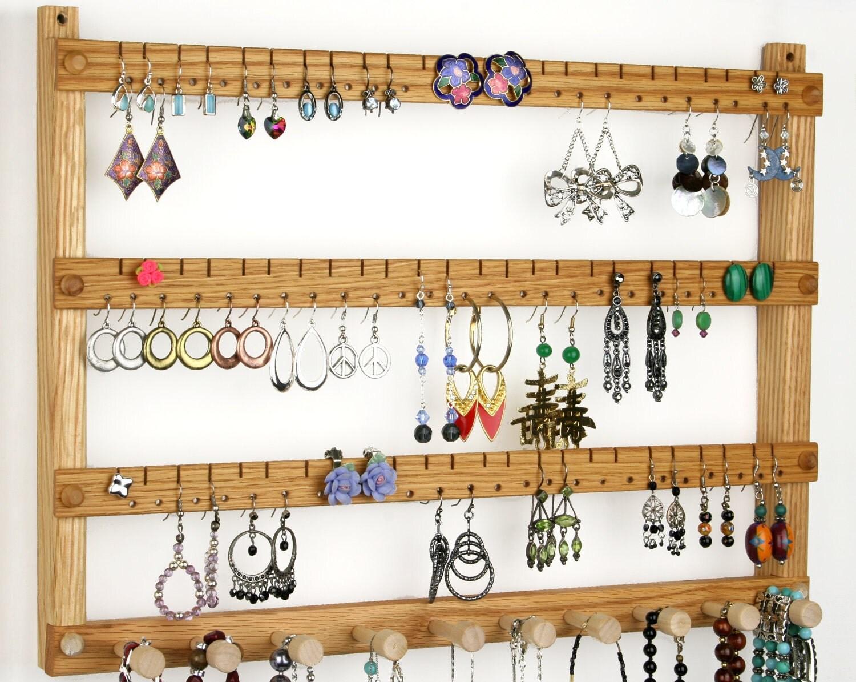 Oak wall mount wooden jewelry display earring holder wide - Porte boucle d oreille arbre ...