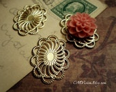 6pcs of  Longer Lasting Color 18K Gold Plated Brass, 19x26mm High Quality Victorian Oval Mirror Lace Flower Filigree Base Connectors Wq S11