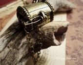 SALE - LAST 2pcs of Antiqued Bronze Pirates of the Caribbean 3D Treasure Chest Locket Charms Pendants Drops