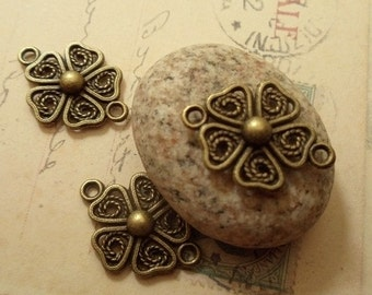 10 pcs of Antique Bronze Filigree Flower Charms / Two Holes Connector N12-Rd3