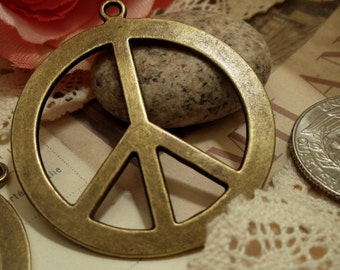 4pcs of Antique Bronze Large Peace Sign Charms Pendants A09-Rd