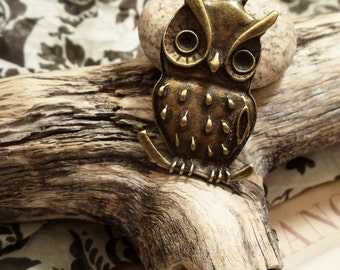 2 pcs of Antique Bronze Large Owl Charms Pendants Drops A21-Rd
