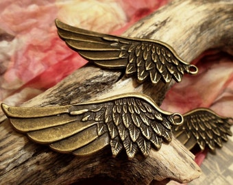 2pcs Antique Bronze Huge Angel Wing Charm Pendant Drop A19-Rd
