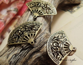 Lot of 10pcs of Antique Bronze Victorian Filigree Fan Connectors Charms Pendants Drops A14-Rd