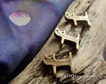 10pcs Antique Bronze Lovely Sleepy Cat Kitty Bead Charms Pendants Drops Zoo Animal A33-Rd