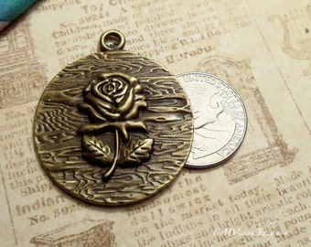 2 pcs of Antique Bronze Large Round Rose Charms Pendants Drops M36-Rd