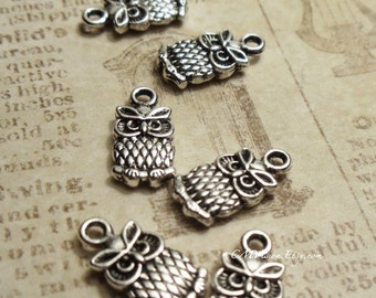 16 pcs of Tibetan Silver Cute Double-sided  Owl Charms Pendants Drops A23-Rd