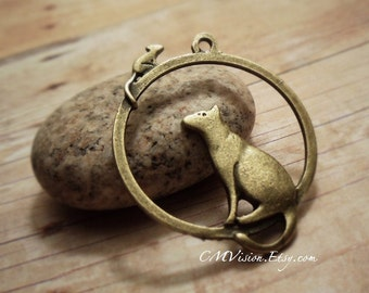 Sale 4pcs of Antique Bronze Chasing You,  Kitty, Cat , rat, mouse Charms Pendants Drops Zoo Animal J40-Ey