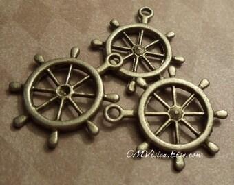 8pcs of Antique Bronze Helm, Ship's Steering Wheel Charms Pendants Drops J02-Rd Captain, Sea, marine, sailor