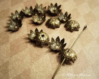 50pcs 10mm Antiqued Brass Pretty Bead Caps Sdm T08