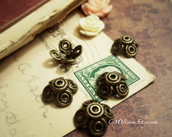 20pcs of Solid Antiqued Bronze 15mm Swirly Flower Bead Caps M37-Rd