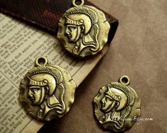 4pcs of Antiqued Bronze Quality  Double-sided Roman Centurion  Coin Charm Pendant Drop J50-Sq