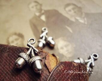 16pcs of Antiqued Silver Cute 3D Acorn Pair  Charms Pendants Drops Gh N39