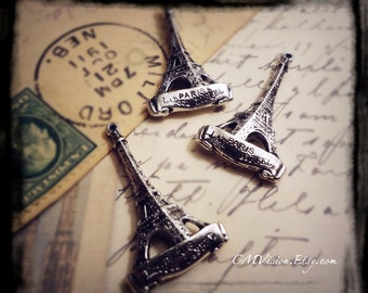 10pcs of Antiqued Silver - Detailed Double-sided Eiffel Tower - Travel Theme Charms Pendants Drops Xb2363 S12