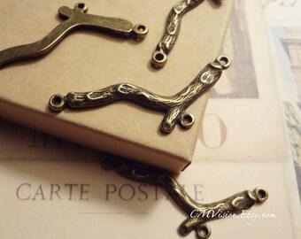 12pcs Antique Bronze Bracelet / Necklace Branch Connector (3 loops) Charms Pendant Drops M20-Ey
