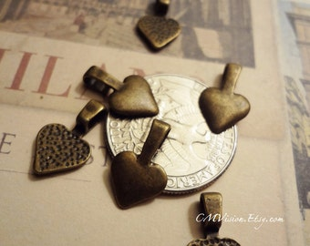 6pcs of Antiqued Bronze 16x10mm Heart shaped Resin flower/Pendant Base/Bail M25-rd