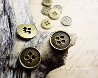 10pcs Antiqued Bronze 13mm Lovely Button Connector Charms Pendants Drops M56-Rd