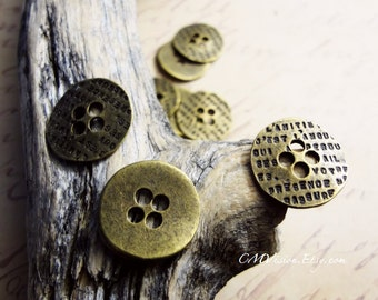 10pcs Antiqued Bronze 17mm Lovely Engraved Button Connector Charms Pendants Drops M57-Rd
