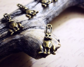 12pcs Antiqued Bronze Sitting Hare Rabbit Easter Charms Pendants Drops N36-Rd
