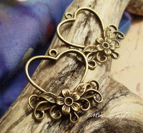10pc of Antique Bronze Victorian Filigree Cherry Flower Vine Heart Shaped Jewelry Connector Charm Pendant Drop H44-Rd