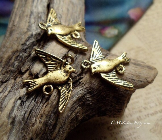 8 pcs of Antique Gold Swallow Bird Connector Charms Pendants Drops E42-Rd29