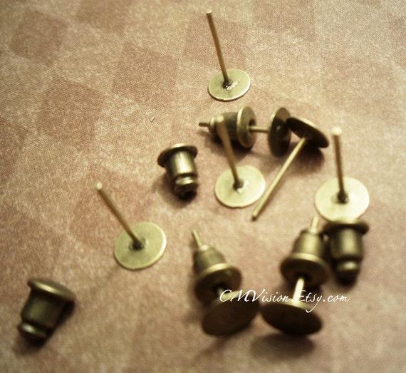 Lot of 200pcs set (100pcs posts, 100pcs barrel ear nuts) 6mm x12mm  Antique Brass Pad Steel Post Earrings Studs Post Sa4