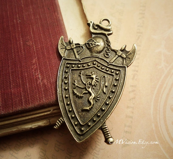 3pc of Antiqued Bronze Knight Shield Crest Coat of Arms, Lion and Axe Charm Pendant Drop Rd C11