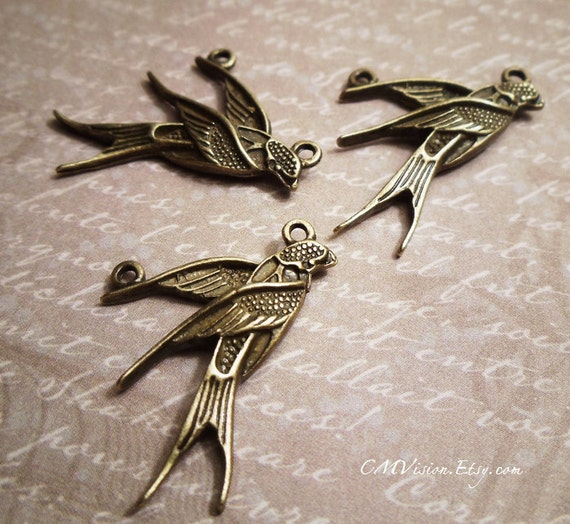6pcs of Antiqued Bronze Poetic Swallow Charms Pendants Drops EY