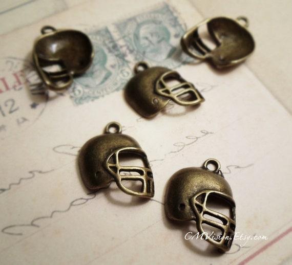 6pcs of Antiqued Bronze Super Bowl Fan Neat American Football Helmet Sports Connector Charm Pendant Drop J53-Ey