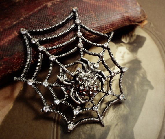 1pcs of Unique Large Gunmetal Black Spider on Web, with hand glued crystals, Halloween Taranchula, Wolf Spider Connector Charm  Gsw