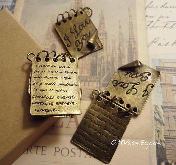 2pcs of Antique Bronze Romantic Valentine I Love You Love Letter Note Pages Connector Charm Pendants Drops M18L21-Ey