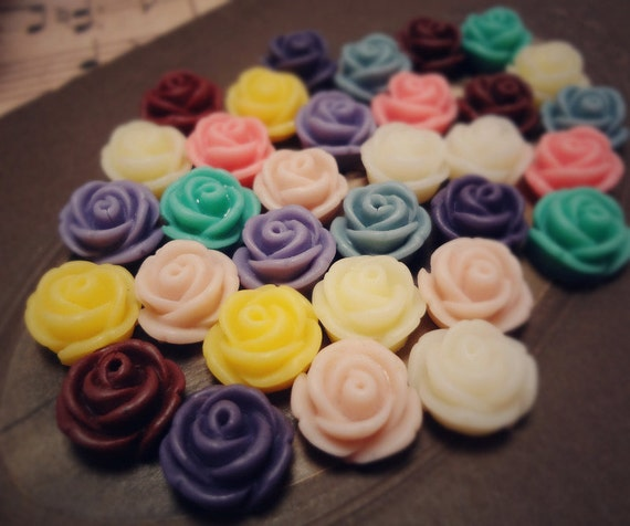 20pcs Sample Pack (2 of ea color) 11mm Quality Cutie Swirly Resin Rose (white, pink, blue, yellow, purple,turquoise,burgundy) Sq