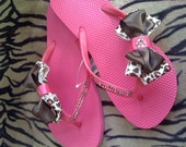 SUPER SALE TODAY Women's size 8 pink flip flops with brown and pink leopard bows tan and pink swarovski crystals